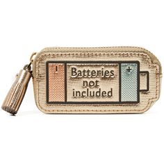 Anya Hindmarch Batteries Not Included Coin Purse ($245) ❤ liked on Polyvore featuring bags, wallets, clutches, pale gold metallic, leather wallet, change purse, coin pouch, metallic wallet and anya hindmarch
