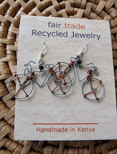 Recycled Wire Bicycle Earrings handmade in Kenya, Fair Trade $5.99