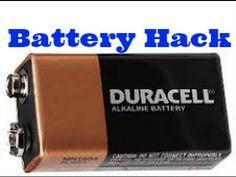 battery hack- turn into 6 AAA batteries Battery Hacks, 9 Volt Battery, Power Tool Batteries, Emergency Preparedness, Camping Hacks, Helpful Hints, Tips, Youtube, Holiday Break