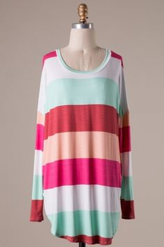 Long sleeve stripe detailed jersey tunic