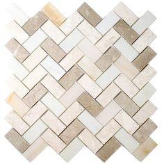allen + roth Marble Beige Herringbone Mosaic Marble Wall Tile (Common: 11-in x 11-in; Actual: 11.14-in x 11.14-in)