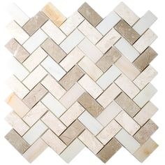 allen + roth Marble Beige Herringbone Mosaic Marble Wall Tile (Common: 11-in x 11-in; Actual: 11.14-in x 11.14-in)