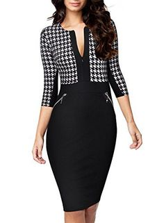 nice Miusol Women's Formal Houndstooth-Print Optical Illusion Business Dress  Formal dresses 2017