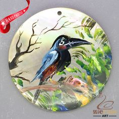 HAND PAINTED TOUCAN BIRD NATURAL MOTHER OF PEARL SHELL PENDANT ZZ50 00209 #ZL #PENDANT