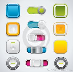 Modern UI button set, switches and push buttons by Hunor Focze, via Dreamstime