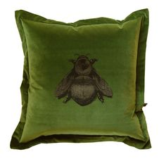 Olive Green Napoleon Bee Cushion from Timorous Beasties. Wonderfully surreal and provocative designs from Timorous Beasties. The Scottish design studio have defined an iconoclastic style often described as 'William Morris on Acid'. Napoleon Bee hand printed in black and gold onto olive green British velvet. Comes complete with full feather core.