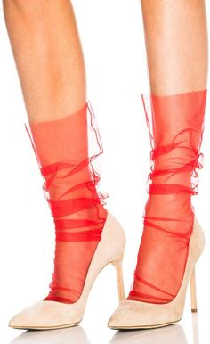 7496bb2361 Shop for Pan & The Dream Italian Nylon Tulle Socks in Red at FWRD.