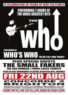 Celebrating 50 years of mod culture - The Who's Who - at Concorde 2, Brighton