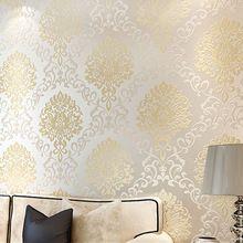 Modern Europe tekstuuriga damast tapeet valguse peegeldus sära kangast seina seinamaaling veeretab luksus reljeefse 3D kuld seina paber (Hiina (Mandri))