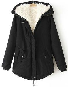 Black Hooded Long Sleeve Drawstring Parka - Sheinside.com