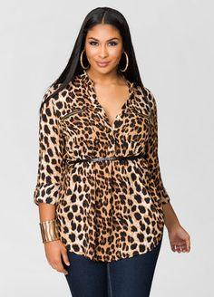 Leopard Print Belted Tunic-Plus Size Dresses-Ashley Stewart Big Girl Fashion, Diva Fashion, Curvy Fashion, Plus Size Fashion, Fashion Outfits, Womens Fashion, Fashion Ideas, Plus Size Shirts, Plus Size Tops