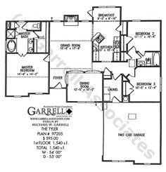 Tyler House Plan 97205, 1st Floor Plan, Ranch Style House Plans, Small House Plans, Traditional Style House Plans