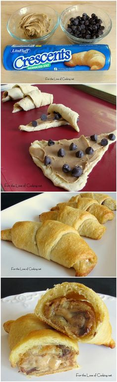 Chocolate and Peanut Butter Crescent Rolls - Yum! These look like a yummy snack! Just Desserts, Delicious Desserts, Dessert Recipes, Yummy Food, Icing Recipes, Healthy Food, Crescent Roll Recipes, Crescent Rolls, Yummy Treats