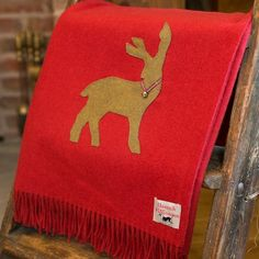 Seasonal Lambswool Throw - Red Stag