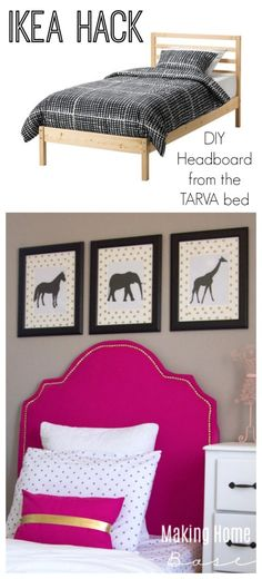 DIY Upholstered Headboard from IKEA Tarva Bed. .. but I just like the room in general
