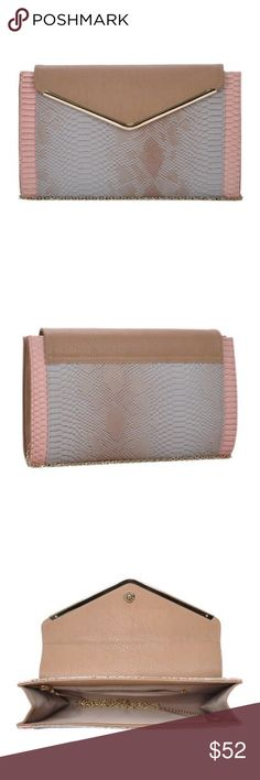 """Renee Snakeskin Clutch This oversized gorgeous Envelope Clutch with gold metal trim along snakeskin embossed closure flap is made of premium vegan leather with roomy interior and detachable Crossbody strap for day to evening transformation. Gorgeous gray and pink hues embossed with snakeskin detail and gold hardware create the perfect appeal to anyone who loves caring a show stopper Handbag. Material: premium vegan leather with fully lined interior. Dimensions: 13""""x8""""x2"""" MMS Design Studio…"""
