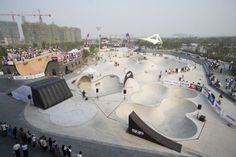 This is a picture of giant skate park in China. One of my favorite types of play is skateboarding.
