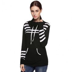 Casual Ladies Women Striped High Neck Spring Autumn Long Knit Blouse Tops