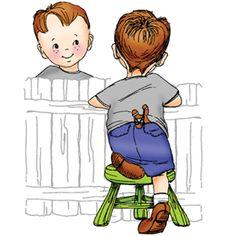 Little boy with knee on stool and slingshot in back pocket - Set of 2