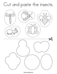 Cut and paste the insects Coloring Page - Twisty Noodle Insect Coloring Pages, Preschool Coloring Pages, Preschool Worksheets, Preschool Activities, Insects For Kids, Bugs And Insects, Preschool Colors, Preschool Bug Theme, Diy Teddy Bear