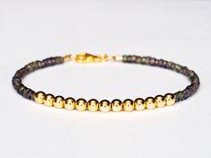 14k Green Sapphire Ball Bead Bracelet.  Solid Gold Gemstone Gemstone.  Women and Mens Bracelet.  Modern, Minimalist Jewelry.