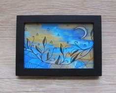 "4 x 6"" Moon Abstract Geometric Landscape // Framed Mixed Media Wall Art"
