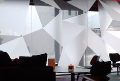 Awesome Triangular vinyl on glass windows: *** Glass Sticker Design, Glass Film Design, Office Space Design, Office Interior Design, Office Interiors, Window Design, Wall Design, Architecture Restaurant, Office Fit Out