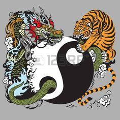 dragon chino: símbolo de yin yang con el dragón y el tigre Vectores