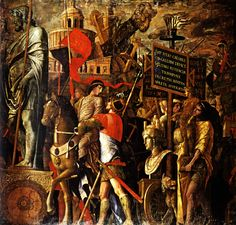 Captured statues and siege equipment, a representation of a captured City and inscriptions (Triumph of Caesar) by @artistmantegna #highrenaissance