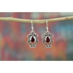 Authentic Garnet Earrings In Sterling Silver via Polyvore featuring jewelry, earrings, earring jewelry, garnet jewellery, sterling silver garnet jewelry, garnet jewelry and sterling silver earrings