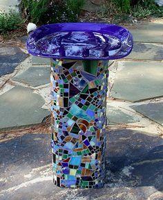 Chimney tile mosaic bird bath