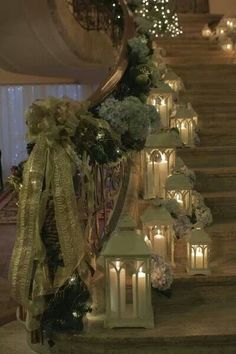 beautiful lanterns on stairway