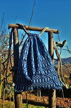 krasavrukach / MODROTLAČOVÝ batoh I. Drawstring Backpack, Folk, Backpacks, Bags, Fashion, Oxtail, Handbags, Moda, Popular