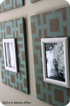 Hollywood Squares Stencil Pattern painted on wood picture frames for wall decor - Royal Design Studio wall stencils