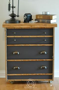 Serendipity Refinend Ikea Rast Hack Industrial Masculine Gray And Wood Steampunk Cart Dresser Nightstand Makeover DIY Make Easy