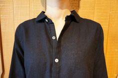 インディゴガーゼウイング衿長袖シャツ