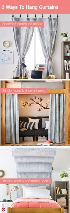 Curtains can add personality and privacy to your college dorm room. Here are 3 easy ways to use them: 1: Use 3M command hooks and shower curtain hooks to hang curtains. Tie each panel back (a shoelace works) to let some light in. It creates a cozy study nook. 2: Hang curtains below your bunk to create extra hang-out space, perfect for late-night studying or napping. 3: Create a headboard meets canopy bed by hanging curtains behind and above your bed. Makes the room look even cozier!