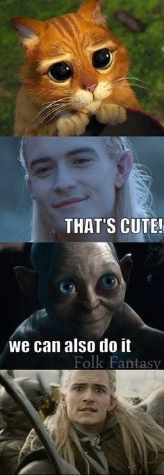 "And my friend thought I was crazy when I said Gollum/Sméagol looked scarily adorable in ""The Hobbit."" AT LEAST LEGOLAS AGREES WITH ME."