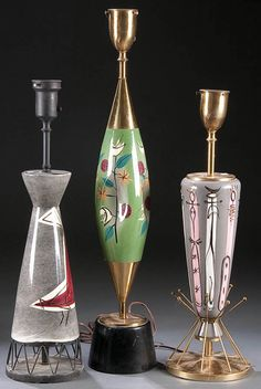 298: THREE MARC BELLAIRE ART POTTERY TABLE LAMPS, mid : Lot 298