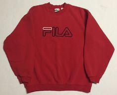 Vtg Fila Crewneck Sweater Mens Medium 90s Solid Red Made in Canada 1990s #Fila #Crewneck