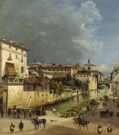 Il Naviglio di Porta Romana di Giovan Battista Dell'Acqua, 1835. Palazzo Morando Bolognini, Museo della Moda.