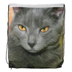 GRAY CAT DRAWSTRING BACKPACK