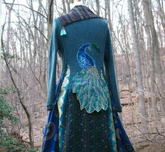 Peacock patchwork long sweater COAT eco Fantasy by . Sweater Coats, Sweaters, Quoi Porter, Boho Fashion, Womens Fashion, Couture, Boho Outfits, Refashion, Mantel