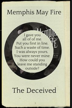 "ijustlikelyrics: "" Request: Memphis May Fire - The Deceived """