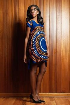a structured tunic style dress with one large pattern