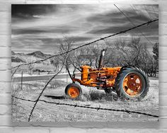 Love this mustard-yellow tractor against the b  w background.  Photo by Murray Bolesta.