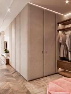 Lighting rail in front of wardrobe directs light to where you need it Bedroom Closet Doors, Bedroom Cupboards, Wardrobe Doors, Wardrobe Interior Design, Wardrobe Design Bedroom, Room Interior, Hidden Closet, Upholstered Walls, Dressing Room Closet