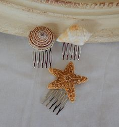 Starfish Seashell Wedding Hair Comb Set of 3-Bridal Hair @www.etsy.com/shop/3Mimis