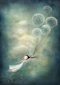Amanda Cass |...fest umschloss Lorena die Löwenzahnhalme mit der Hand, ganz fest. Dann schloss die Augen, und machte sie sich in Gedanken ganz leicht. Sie dachte nur noch an Luftballons, Vögel, Insekten und alles was fliegt, und sie stellte sich vor, dass sie immer kleiner und leichter würde. Und plötzlich spürte sie keinen Boden unter den Füßen mehr. Langsam öffnete sie die Augen wieder und sah, dass sie durch die Luft schwebte, immer weiter nach oben. Es funktionierte!