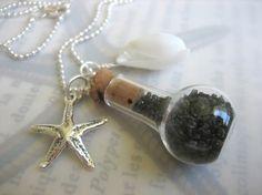 Black Sand Bottle Necklace by mauidivegirl on Etsy, $40.00